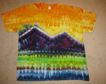 Tie dye t shirt, rainbow, mountain art, lake life