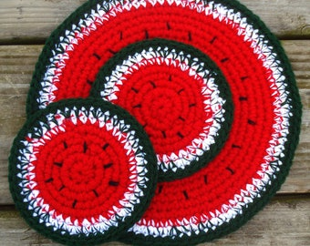 Watermelon doily and two coasters crochet set watermelon crochet coasters crochet watermelon doily crocheted coaster set OlgaAndrewDesigns©