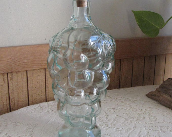 Old Bottle, Green Grapes Liquor Bottle or Decanter Vintage Kitchens and Barware Rustic Florist Ware