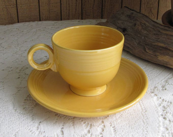 Fiesta Ware Homer Laughlin Yellow or Marigold Coffee Cup and Saucer 1936-1969  Imperfections