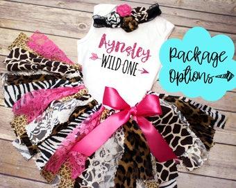 Wild One Hot Pink Safari Animal Print Fabric Tutu, Top and Headband // Safari Jungle // Leopard, Zebra, Giraffe // Baby, Toddler, or Girl
