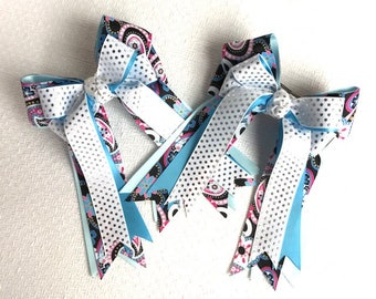 Bowdangles Horse Show Bows /Black pink blue silver sparkle dots