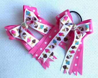 Horse Show Hair Bow - Pink Ice Cream Cones - Standard Regular length