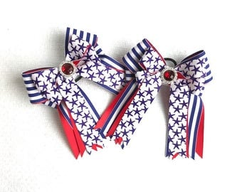 Horse show bows/patriotic equestrian clothing/sparkle gem/gift/Ready2Mail with elastic loops