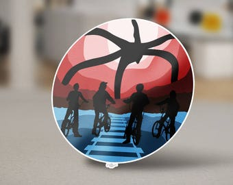 Stranger Things Sticker Design from the Stranger Things Universe with Mike, Dustin, Lucas, Will, Eleven, and Max in this Sci-fi Masterpiece.