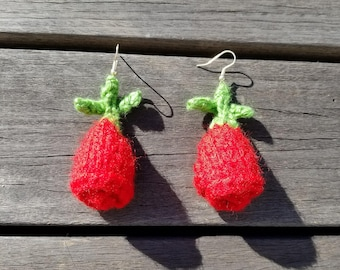 Knitted rose earrings, red roses, gift, present, Valentine's day gift,  birthday gift