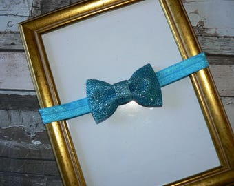Bow Paillete Turquoise baby headband size 3/6 months