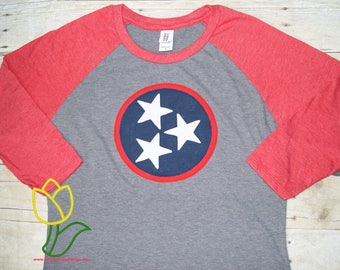 Tennessee TriStar 3/4 Sleeve  Raglan Women's T-shirt, Tennessee Flag Shirt