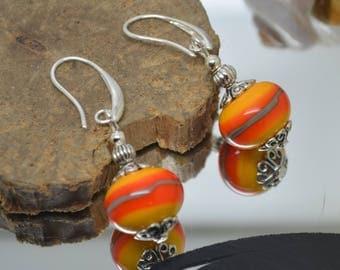 Earrings 925 Silver hooks orange khaki yellow Lampwork Glass Beads