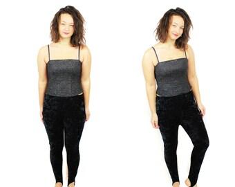 Crushed velvet Pants /Vintage 80s pants /Stretch pants / Black velvet leggings / Small Medium