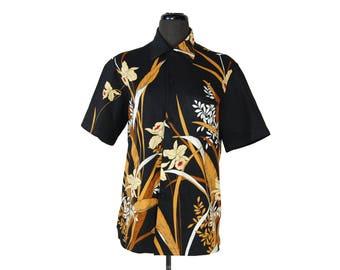 Vintage 1970s Black and Gold Tropical Print Hawaiian Shirt / Leani's Polynesian Shop