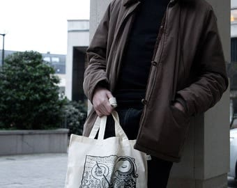 PLAGOIID Tote Bag in organic cotton - Linocut print in limited and numbered series
