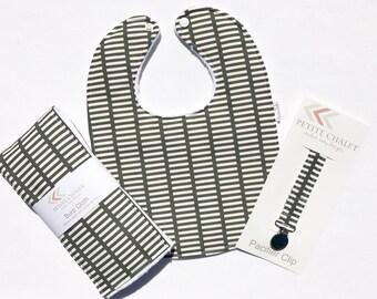 Gray Baby Bib, Burp Cloth, and Paci Clip Set - Modern Baby Gift Set - Ready to Ship Baby Shower Gift Set - Handmade Baby Gift Set