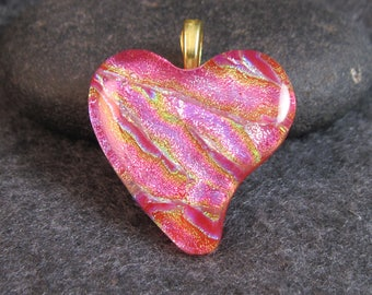 HEART OF FIRE, Pink Dichroic Glass Pendant* Free Shipping*
