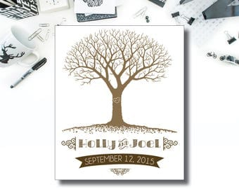 Fingerprint Tree // Wedding Guest Book // Instant Download // Digital File