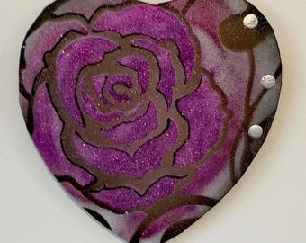 PAINTING abstract modern purple Valentine heart
