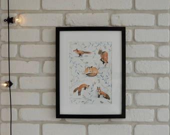 Poster illustration Fox Fox love nature, red fox, animal watercolor, forest, Fox, vulpes vulpes crucigera