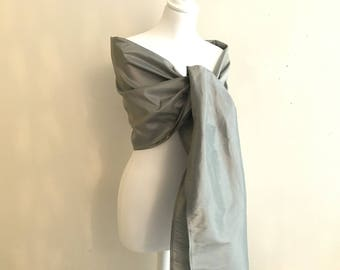 stole silver grey taffeta reflection wedding 200/75 cm stole wedding/baptism/party/cocktail