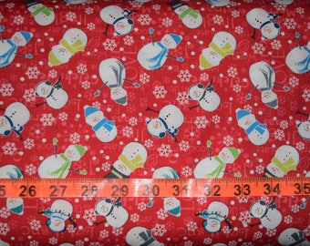 Mulberry Lane Snowman in Red - Benartex - Cotton fabric - Choose your cut
