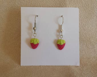 Earrings Strawberry in cold porcelain