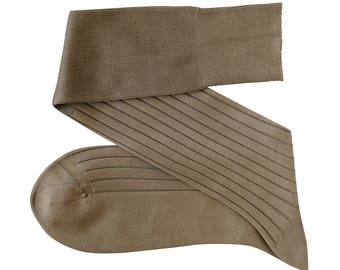 Beige Men Over The Calf New Ribbed  100Cotton Lisle Casual Dress Solid Socks