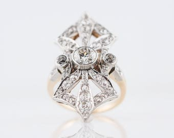 Antique Right Hand Ring Edwardian 1.61 Old European and Mine Cut Diamonds in Platinum and 14k Yellow Gold