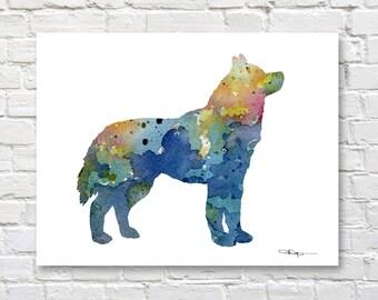 Siberian Husky Art Print - Abstract Watercolor Painting - Wall Decor