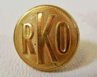 Pair Waterbury Brass Uniform Button RKO Studios Theater Usher Silver Screen Era