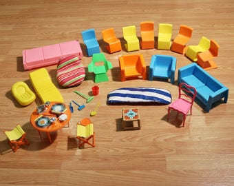 Lot of 1970s Barbie Doll Dream House Furniture & Accessories, Mattel -Mod Chairs