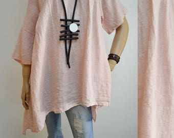 42 44 46 48 / 14 16 18 20 Italian Boutique Linen Lagenlook Tunic Plus Size Pockets