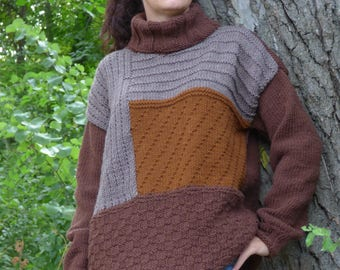 New hand knit wool sweater in brown colors,Handmade jumper,Handcraffted pullover