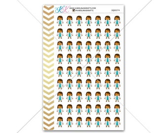 African American Girl Doctor Stickers for planner, calendar! Functional planner stickers medical sticker nurse sticker #SQ00374