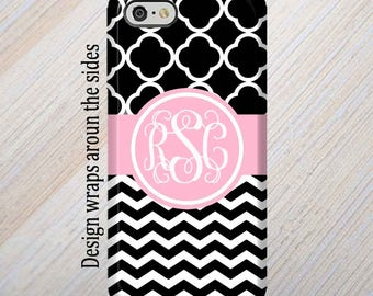 iPhone 8 Case, Black Chevron, Pink, iPhone 7 Case, Monogram, iPhone Case, Personalized, iPhone 6 Plus case, Galaxy S8 Case, S8 Plus Case,
