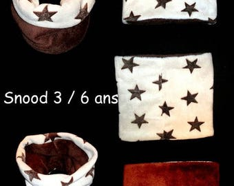 Kids fleece reversible snood star one size 3 to 6 years