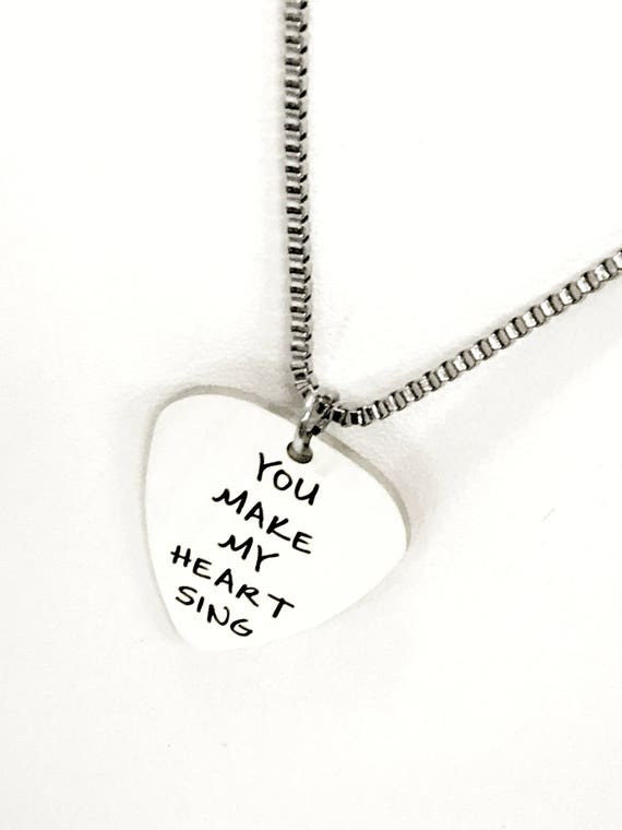 Guitar Pick Necklace, You Make My Heart Sing Necklace, Guitar Pick Jewelry, Guitar Pick Gifts, Valentine Necklace, Music Lover Gift