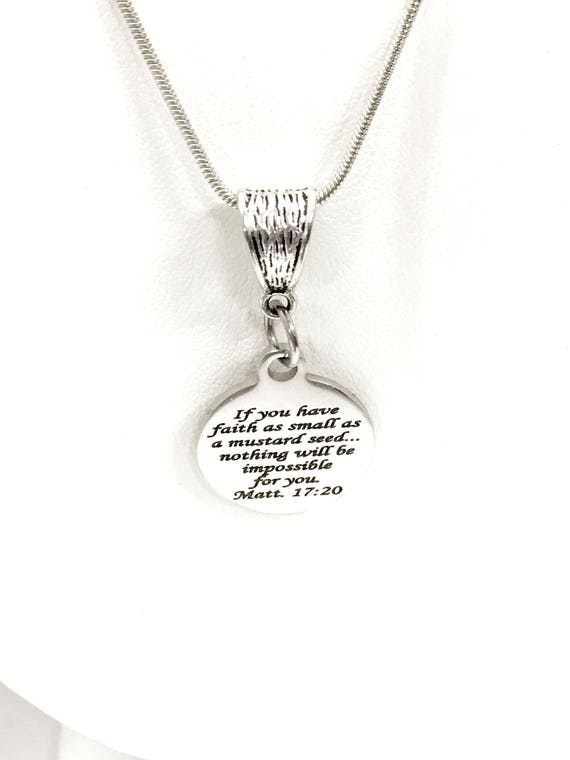 Scripture Jewelry, Mustard Seed Faith Gifts, Mustard Seed Scripture Necklace, Matthew 17 20 Scripture Necklace, Christian Jewelry