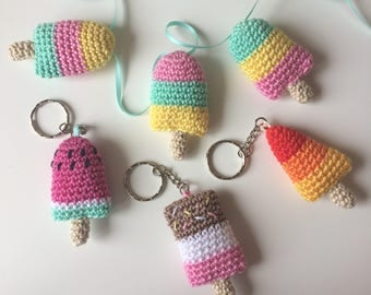 Ice Lolly Bunting and Keyring Pdf Crochet Pattern - Crochet Lollipop Keychain - Fab Lolly - Rocket Lolly - Crochet Popsicle Bunting Pattern