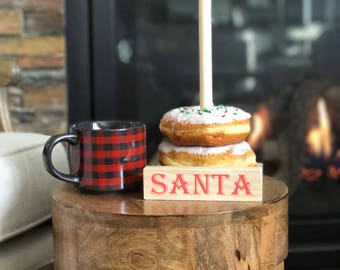 Santa donut stand, milk and cookies, Christmas Eve, cookie plate, donut bar