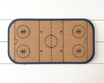 Hockey rink cork board, sports decor, kids room organization