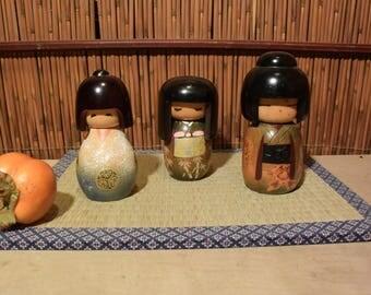 Vintage Japanese Kokeshi Dolls Set of 3