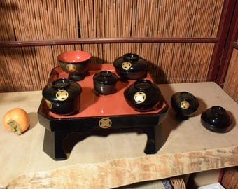 Vintage Japanese Square  Black Antique Red Lacquer Footed Tray Altar Offering Set of 14 Pieces