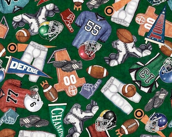 Everything Football Green Cotton Woven by Quilting Treasures