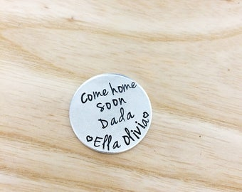 personalized pocket token, love token, come home soon daddy, personalized gift for dads, father's day gift, love message, love notes