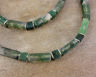 Cube necklace with MOSS agate and 925 Silver, sterling silver, chain gemstone, necklace, agate necklace with rectangles, cubes, cube necklace, green