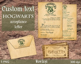 Custom Text Hogwarts acceptance letter – Harry Potter World 5 Pieces - INSTANT DOWNLOAD-Digital Printable Templates