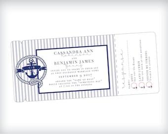 Nautical Wedding Invitation, Cruise Wedding Invitation, Yacht Wedding, Cruise Ship, Sail Boat, River Wedding, Nautical Navy Wedding, Anchor