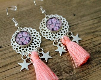 Bohemian earrings liberty pink and purple with powder pink tassel