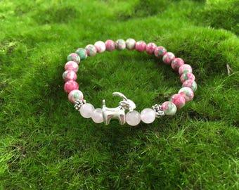 Rose Garden Mountain Jade Enchanted Goat bracelet - stretch yoga bracelet - portion of proceeds goes to Goats of Anarchy
