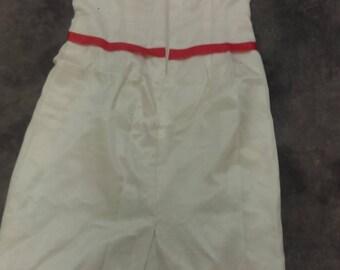 HALLOWEEN COSTUME Vintage 1950 silk dress sz 2. No sleeves, pencil skirt, cream with orange belted waist