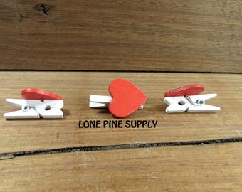 Red Wooden Heart With Clothpen.